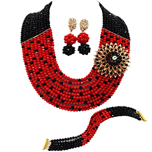 10 Layers Multi Strands Statement Necklace Nigerian Wedding African Beads Jewelry Set Crystal Beaded Bridal Party Jewelry Sets for Women Girls (Black Opaque Red)