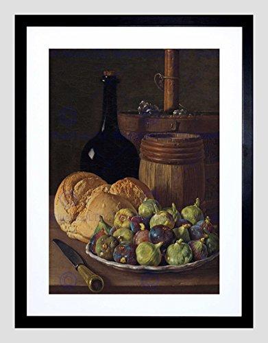 LUIS Melendez Spanish Still Life FIGS Bread Black Framed Art Print B12X5353