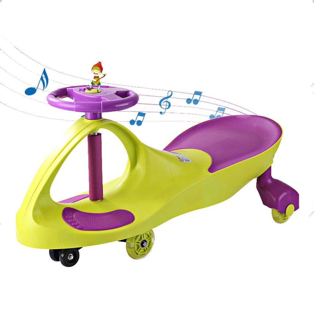 スイングカーツイストカー、子供のおもちゃのスイングカーのおもちゃの車の乗り物スイベル音楽とフラッシュ  緑 B07R4TW7XB