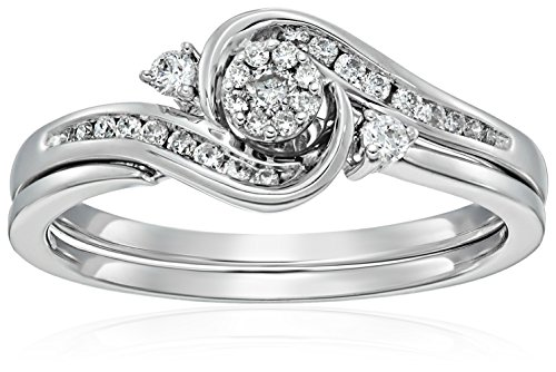 10k White Gold Round Cluster Top Diamond Twist with Interlocking Band Bridal Set (0.25 cttw I-J Color, I2-I3 Clarity), Size 7,white, by Amazon Collection