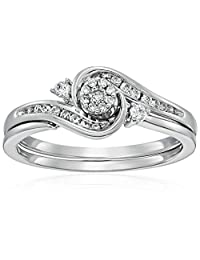 10k White Gold Round Cluster Top Diamond Twist with Interlocking Band Bridal Set (0.25 cttw I-J Color, I2-I3 Clarity)