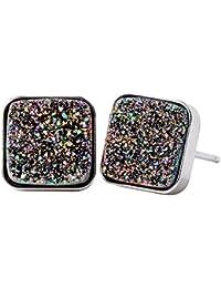 Jewelry 925 Sterling Silver Agate Druzy Handcrafted Stud Earrings for Women