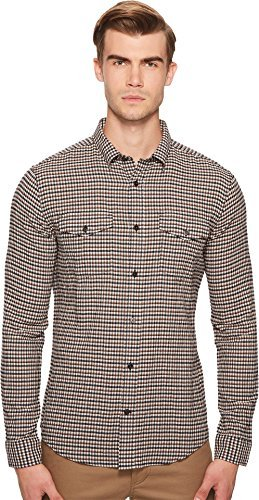 Vince Men's Micro Plaid Western Long Sleeve Button Down, Toffee, M