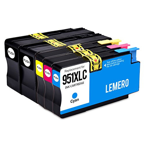Lemero 5 Pack Replacement for HP 950XL 951XL High Capacity Compatible Ink Cartridges (2 Black 1 Cyan 1 Magenta 1 Yellow) for use in HP OfficeJet Pro 8100 8600 8610 series printers.