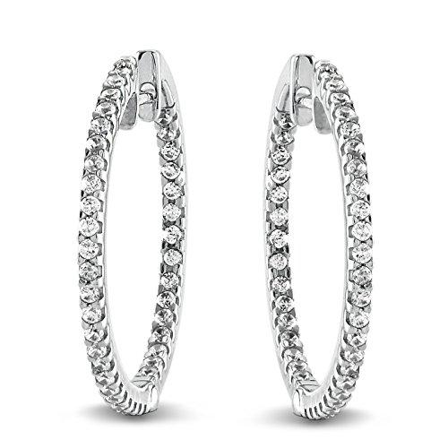 0.50 Ct. Natural Diamond Hoop Earrings 10K White Gold for Women (1/2 Ct Diamond Hoop Earrings)