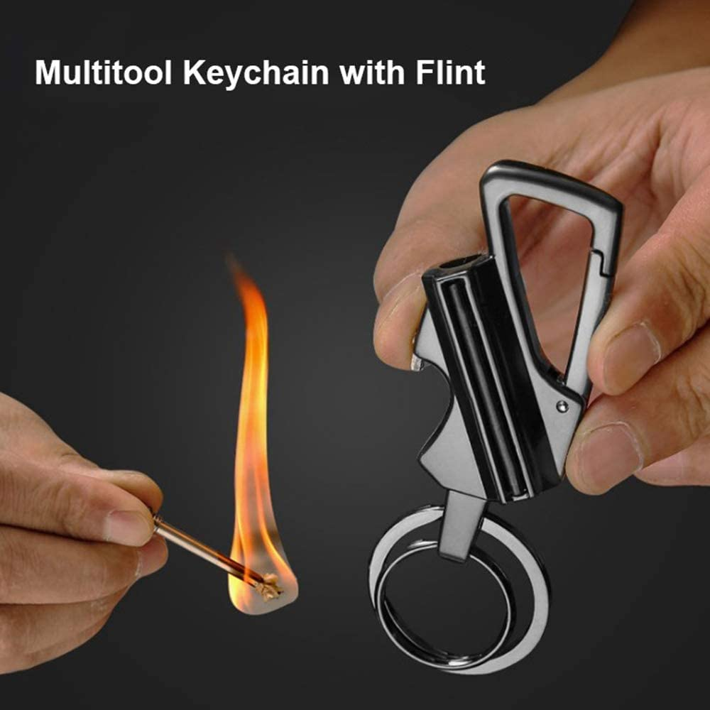 Lampelc Keychain Flint Metal Matchstick Fire Starter Bottle Opener Great Kerosene Refillable Mountaineering Buckle Lighter Emergency Survival Gear