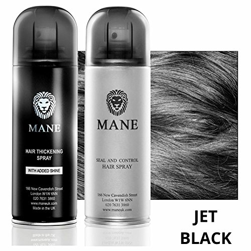 Mane Coloured Hair Thickening Spray JET BLACK 200ml with Seal & Control 200ml Aerosol Fixing Spray by Mane by Mane