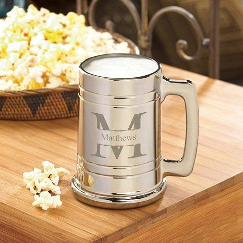 Personalized Beer Mug - Monogrammed Gunmetal Beer Mug - Groomsmen Beer Mug (Metallic Beer Mug compare prices)