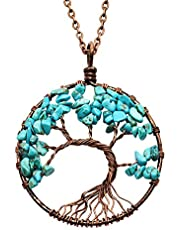 Christmas Tree Crystal Necklace Tree of life Pendant Family Best Friends Valentine Women for Men