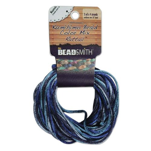 Beadsmith Rattail 1mm 4-Color Beading Cord, 3-Yard, Blue Tones