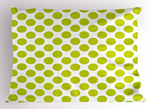 Price comparison product image Ambesonne Lime Green Pillow Sham,  Nostalgic Polka Dots Style Large Circles Girlish Vintage Rounds Pattern,  Decorative Standard King Size Printed Pillowcase,  36 X 20 Inches,  White Apple Green