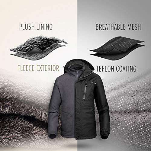 OutdoorMaster Mens 3-in-1 Ski Jacket - Winter Jacket Set with Fleece Liner Jacket & Hooded Waterproof Shell - for Men