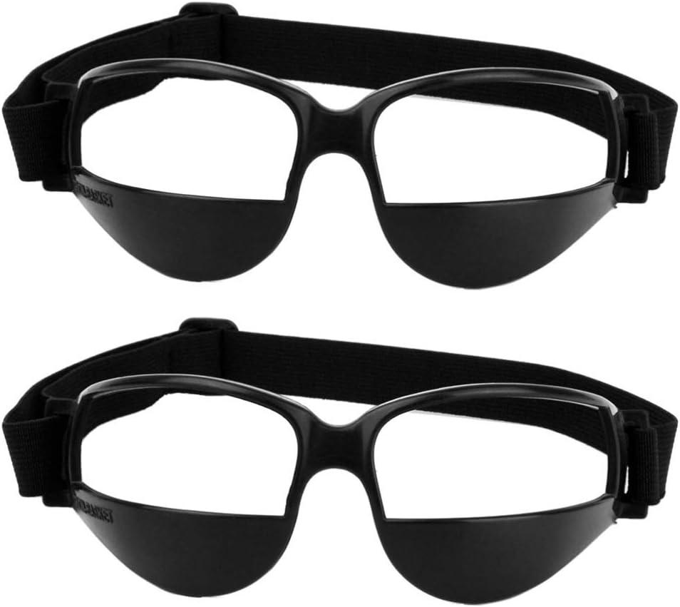 Garneck 2pcs Gafas de Baloncesto Gafas de Deporte Gafas Seguridad Ajustables Gafas Protección Anti-Baja Ayuda de Entrenamiento de Baloncesto (Negro)