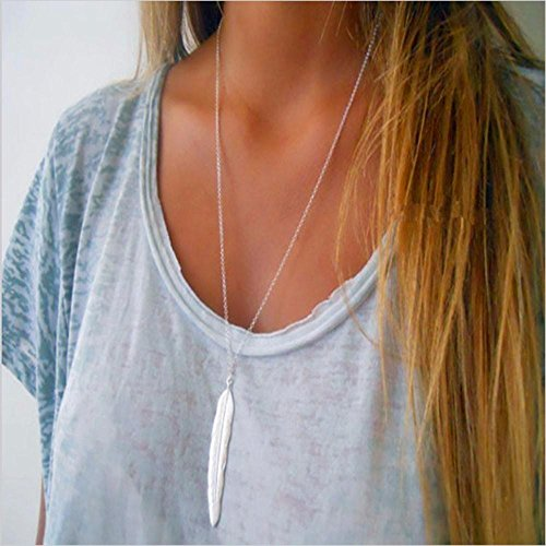 (FXmimior Plume Feather Deck Shaped Plated Long Chic Essential Necklace Jewelry for Women (silver))