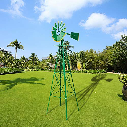 Big Times 8FT Ornamental Garden Windmill Yard Garden Windmill Green for Outdoor Yard Lawn & Garden US - Ornamental Windmill Lawn