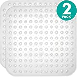 Sierra Concepts 2-Pack Clear Color Square Shower, Bathtub, Bath and Tub Mat (21x21), Machine Washable, Antibacterial, BPA, Latex, Phthalate Free, Square Bathroom Mats with Drain Holes, Suction Cups