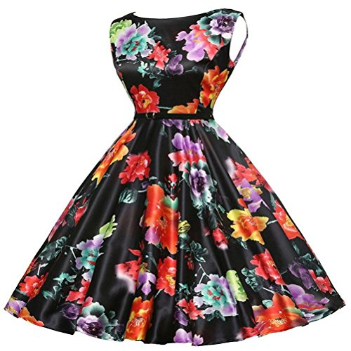 Swing Formal Belt Sleeveless Black A Dress Flower Shown Midi Dress Women Line with Cocktail Vintage As Hepburn Audrey Printed SYGoodBUY 50s 4xwWSqUZn6