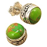 GREEN COPPER TURQUOISE HAND CARVED Stud Earrings 925 Silver Plated