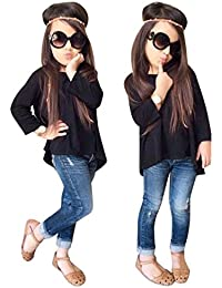 Toddler Girls Outfit Fashion Pant Set Clothes T-Shirt Tops+Jeans Pants 2Pcs White Yellow