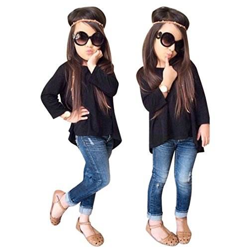 TiTCool Toddler Baby Kids Girls Outdoors Outfit Clothes T-Shirt Tops+Jeans Pants 1Set (Black, 4T)]()