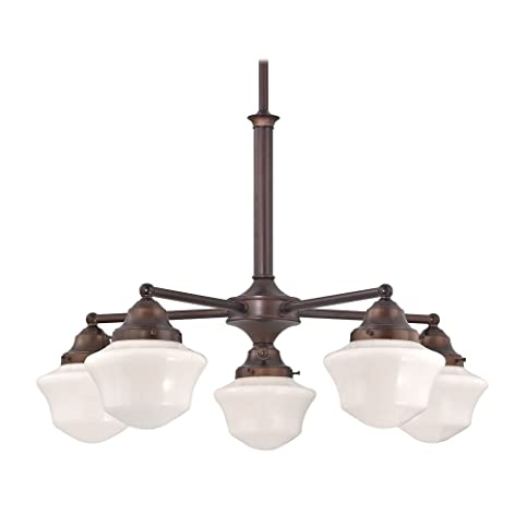 Schoolhouse Chandelier with Five Lights in Bronze Finish - Schoolhouse Chandelier With Five Lights In Bronze Finish