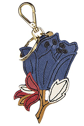 Prada women's genuine leather keychain keyring holder gift peonia blu