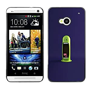 CASEX Cases / HTC One M7 / Funny Green Monster # / Delgado Negro Plástico caso cubierta Shell Armor Funda Case Cover Slim Armor Defender