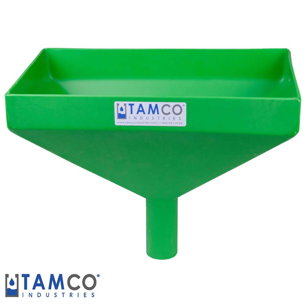 16'' x 10'' Rectangular Green Tamco Linear Low Density Plastic Funnel with 2'' OD Center Spout (1 Funnel)
