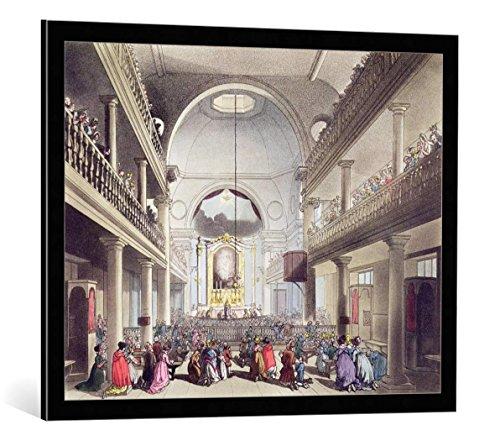 - kunst für alle Framed Art Print: T. & A.C. Rowlandson & Pugin Roman Catholic Chapel Lincolns Inn Fields from… - Decorative Fine Art Poster, Picture with Frame, 33x26 inch, Black/Edge Grey