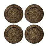 ChargeIt by Jay Round Rattan Chargers Set of 4 Decorative Service Plates for Home, Professional Fine Dining Perfect for Events & Dinner Parties