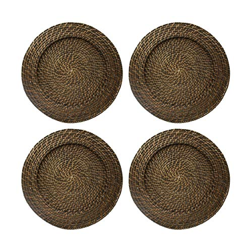 Round Rattan Brick Brown 13-Inch Charger, Set of 4 (Plate Table)
