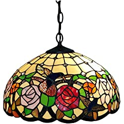 Amora Lighting Tiffany Style AM019HL16 Hummingbirds Floral Hanging Lamp Wide 16 In