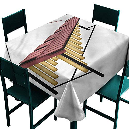 DONEECKL Wrinkle Resistant Tablecloth Marimba Wooden Beaters Percussion Party W36 xL36 ()