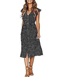 b2c1b5884586 CLOUSPO Summer Dresses for Women Casual Button Polka Dot Sleeveless V Neck  Swing