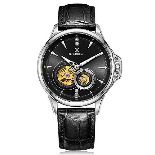 STARKING Men's AM0217SL22 Sophisicated Automatic Skeleton Subdial Luminous Black Leather Dress Watch