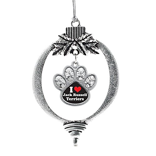 Inspired Silver I Love Jack Russell Terriers Pave Paw Print Charm Holiday Christmas Tree Ornament ()