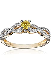 14K White and Yellow Gold Diamond Bridal Ring (0.5 Cttw, G-H Color, I1-I2 Clarity), Size 7