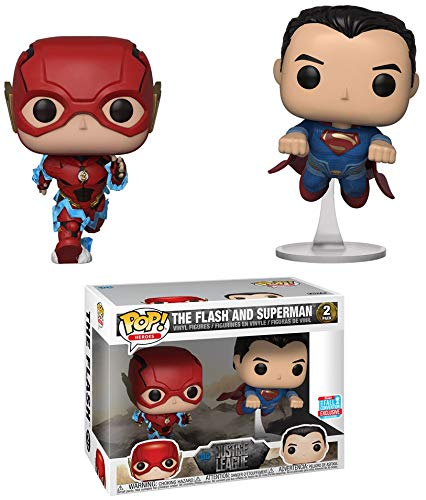 3c4191cc59b Amazon.com  Funko Pop! DC Justice League Flash and Superman Racing Fall  Convention 2 Pack Exclusive Figure  Toys   Games