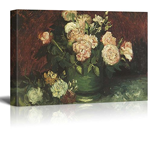 Wall26 - Bowl with Peonies and Roses by Vincent Van Gogh - Oil Painting Reproduction on Canvas Prints Wall Art, Ready to Hang - 24