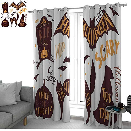 NUOMANAN Window Curtain Fabric Vintage Halloween,Halloween Symbols Trick or Treat Bat Tombstone Ghost Candy Scary,Dark Brown Orange,Rod Pocket Curtain Panels for Bedroom & Living Room -