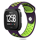 Hagibis Fitbit Versa Bands Sport Silicone Replacement Breathable Strap Bands for New Fitbit Versa Smart Fitness Watch(Purple&Green)