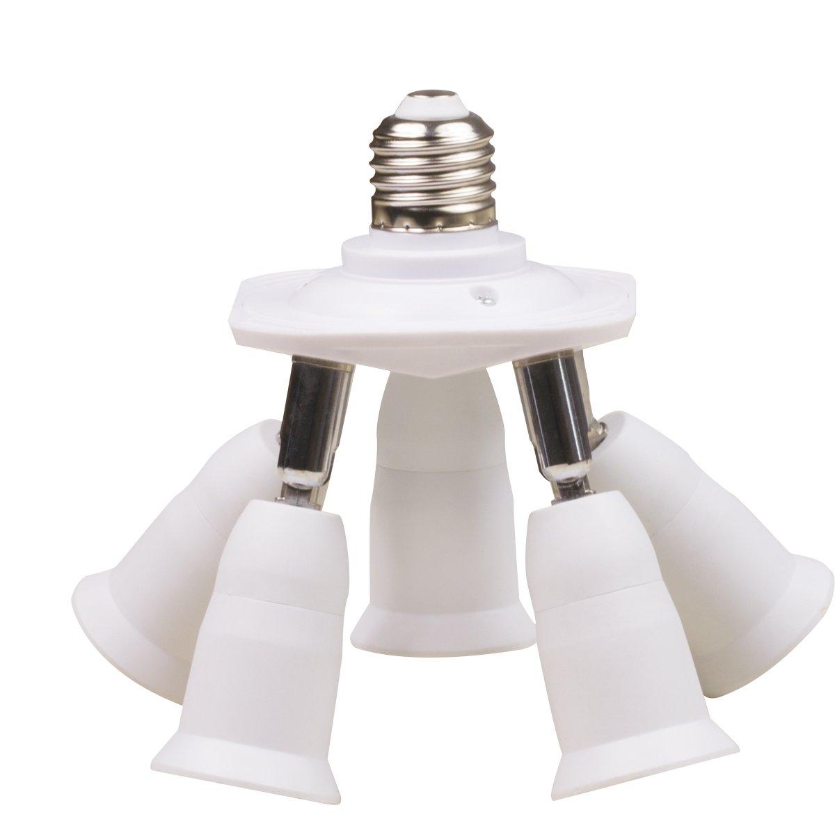 8T8 5 in 1 Lamp Socket Adapter Splitter, LED Bulb Holder Chandelier Converter for E26 E27 Standard Light 360 Degree Adjustable (Manual_5) by 8T8