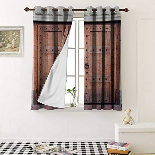 shenglv Rustic Drapes for Living Room Antique French Wooden Door Old Medieval Historical Entrance Middle Age Design Curtains Kitchen Window W96 x L72 Inch Brown and Cream (Atlanta Furniture French)