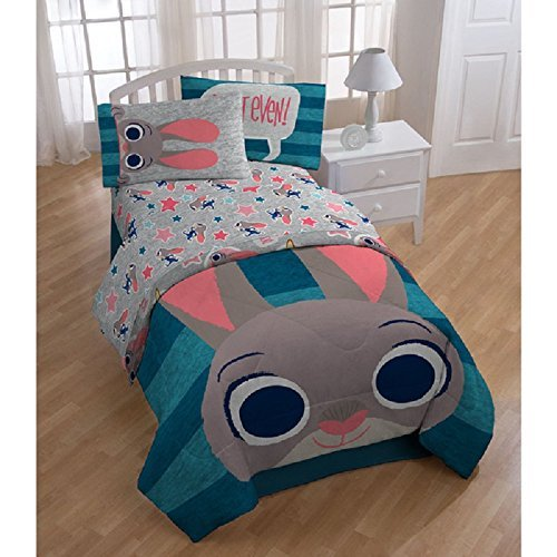 5pc Kids Disney Zootopia Theme Comforter Twin Set, Blue Stripe, Judy Hopps, Vibrant, Pretty Characters Printed Bedding, Animated Cartoon Movie Pattern