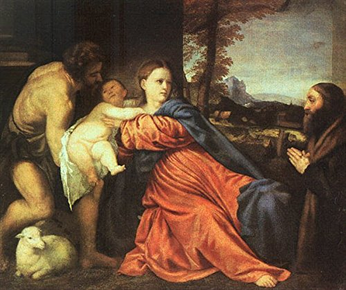 Cutler Miles Holy Family And Donor by Titian Hand Painted Oil on Canvas Reproduction Wall Art. 30x24 by Cutler Miles