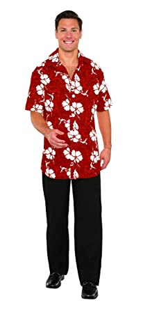 94707c253 Amazon.com: Men's Hawaiian Tourist Floral Button Front Shirt Costume Red:  Clothing