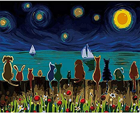 Kids Beginner DIY Oil Painting Paint by Number Kit for Adult New Painters with Paint Brushes Acrylic Pigment,Moon Night