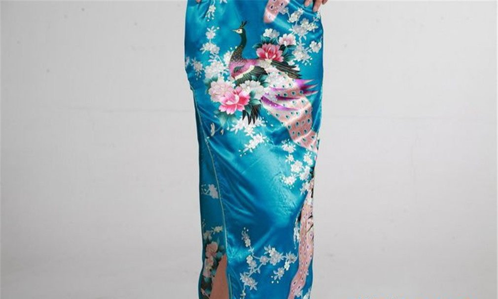 Jtc Women's Chinese Silk Peacock Long Cheongsam Dress (xx-large, blue) by Jtc (Image #6)