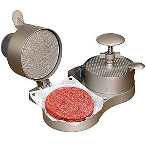 Weston Burger Express Double Hamburger Press with Patty Ejector (07-0701), Makes 4 1/2″ Patties, 1/4lb to 3/4lb,Grey