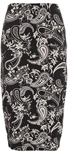 RM New Women's Printed Pencil Skirt, Midi Skirt Normal and Plus Size (Large/ XL, Black Paisley) (Pencil Skirt Print Leopard)